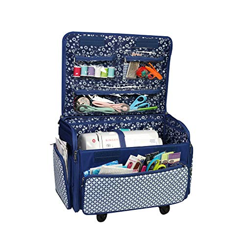 Sale!! Everything Mary EVM12739-4 4 Wheels Collapsible Deluxe Sewing Storage Case, Rolling Trolley C...