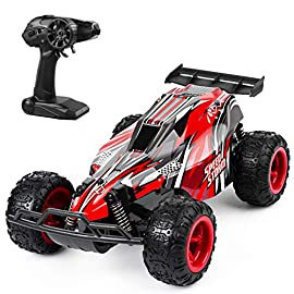 JEYPOD Remote Control Car, 2.4 Ghz High Speed Racing RC Car with 4 Batteries, Kids Toys, Red 3 4 batteries: 2 rechargeable batteries for car and 2 batteries for transmitter. Features: 2.4GHz wireless receiver, control distance 50-80m, speed 10-20km/H. Harmless raw material: non-toxic plastic, electronic elements, newest RC car.