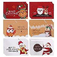 クリスマスカード 24枚セット 封筒付き メッセージカード 二つ折り クリスマス 挨拶状 寄せ書き レターセット かわいい サンタ 雪だるま ツリー柄 クリスマス雑貨 グリーティングカード メリクリスマス