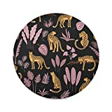 Nigel Round Placemats for Dining Table Mat for Kitchen Tables Heat Resistant Thick 6 Piece Leopard Vivid Vintage