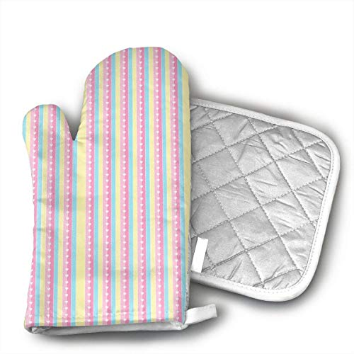 Nonebrand Pink Love Vertical Stripes Oven Mitts Cooking Heat Resistant, for Kitchen Oven BBQ Grill and Fire Pits for Cooking Baking,