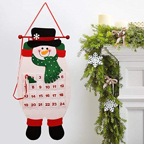 NLRHH Navidad 2017 Adviento Calendario Craft Santa Claus Muñeco de Nieve Decoración Colgante Decoración Navidad Pendiente Ornamento DIY (Color: Rosa) Peng (Color : Pink)