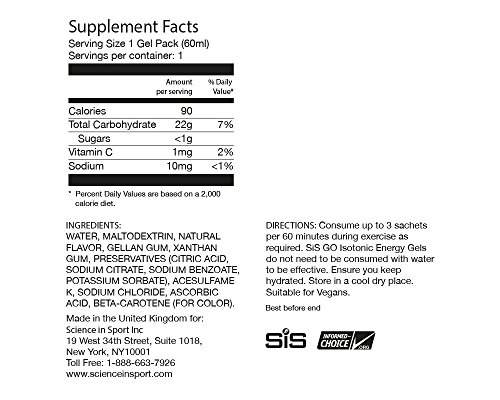 SiS Go Isotonic, low sugar, high carbohydrate Energy Gel (Mixed Flavours) 7 Pack