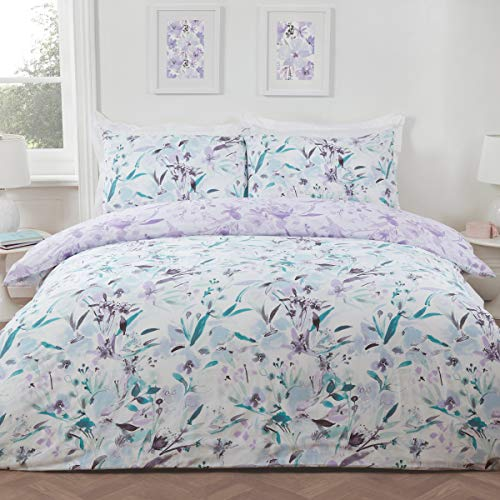 Sleepdown Juego de Funda de edredón con Fundas de Almohada para Cama de Matrimonio (200 x 200 cm), diseño Floral, Color Lila y Verde Azulado