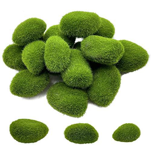 Artificial Moss Balls for Decoration Moss Rock Kit Faux Mini Moss Stone Three Size 16Pcs