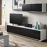 Habitdesign - Mueble de salón Moderno, modulos Comedor Alida, Acabado en Color Blanco Brillo y...