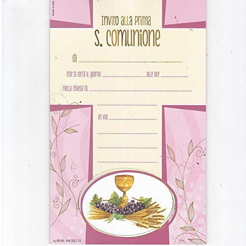 BIEMBI S.P.A. 20 INVITI con Busta per Comunione Rosa