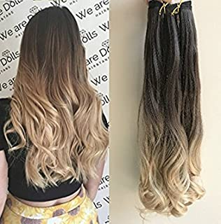 20 Inches One Piece 3/4 Full Head Clip in Hair Extensions Ombre 2 Tones Wavy Curly (dark brown to sandy blonde)