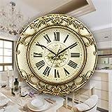 LYTZX - Reloj de pared, 19 pulgadas, redondo, de cuarzo, color negro, galvanizado, lacado de ABS, reloj de pared de cristal transparente