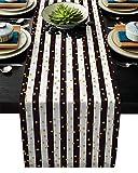 Homemade 4U - Runner da tavola in lino per San Valentino, decorazione per matrimoni, feste nuziali, feste di compleanno, piante da giardino, foglie e cuori, Cotone lino, Righe dorate Loveheu7930, 13x90inch