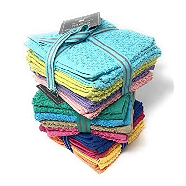 White Dove Value Terry Cloth 24-Pack - 12  x 12  - Cotton/Poly Blend for Maximum Performance - Fun Colors - Multi-Purpose, by Unity