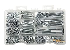"""Kit Includes Hex Bolts, Hex nuts, Flat Washers and Lock Washers Use for fastening metal, wood and plastic materials together, Includes sizes 1/4"""" 5/16"""" and 3/8"""" A variety of sizes to suit your needs Comes in a handy Plastic organizer case with size c..."""