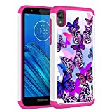 Vavies Case for Moto E6, Motorola E6 Phone Case for Girls Women, Shock Absorption Dual Layer Heavy Duty Protective Cover Rugged Cases for Motorola Moto E6 (Butterfly)