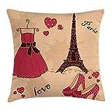 Wuhandeshanbao - Federa per cuscino con tacchi e vestiti, motivo Paris Boutique, stile francese, stile rétro con scarpe e torre Eiffel, colore: marrone scuro rosa salmone pallido