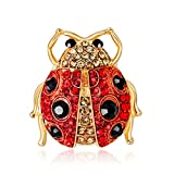 SKZKK Creative Cartoon Ladybug Crystal Corsage for Women Diamond Dress Brooch Pin,Collar Jewelry for Women Corsages Scarf Clip Red