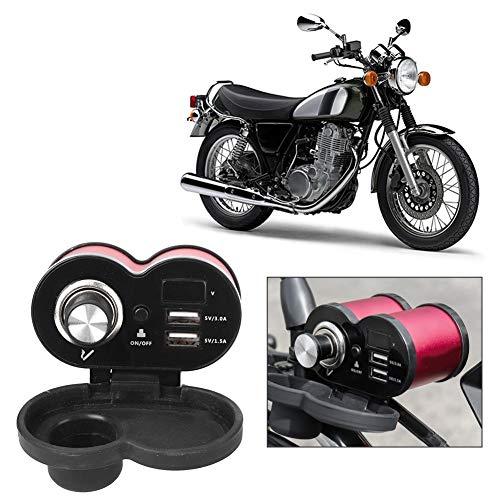 Oferta de Adaptador de cargador de teléfono USB para manillar de motocicleta 5V 1.5A + 3.0A Puertos USB dobles 12V Toma de corriente para encendedor de cigarrillos de coche para coche Barco Moto Marina(rojo)