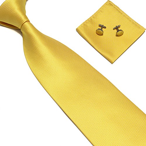 Junlinto Woven Silk Neckt Handmade Mens Tie Gemelos y Pañuelo Set Hanky Gift NO.9