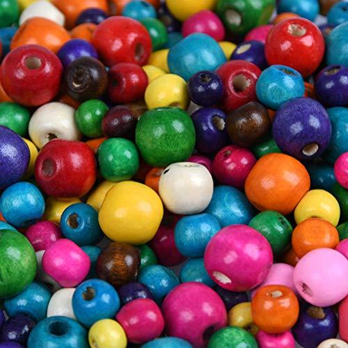 YANSHON Bunte Holzperlen - 1000 Stück Bunt Verschiedene Holzperlen Set, 6mm, 8mm, 10mm Holz Perlen Zum Basteln für Schmuck Arts, Crafts, Halskette, Armreif