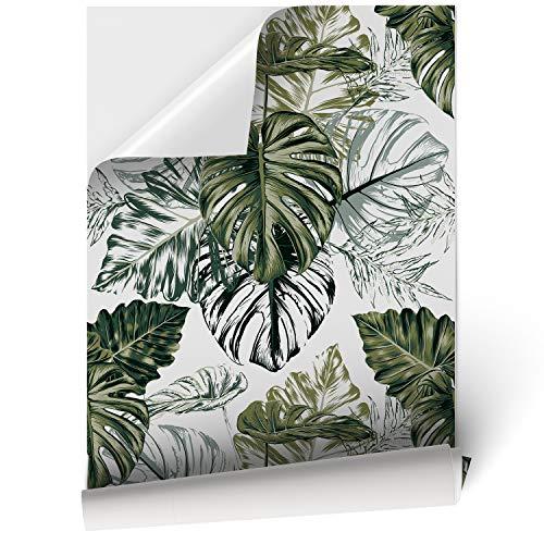 DON LETRA Papel Adhesivo de Vinilo para Muebles y Pared - 45x200cm - Hojas de Palmera y Fondo Blanco - Material Resistente,...