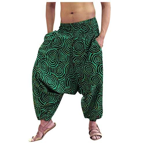 Tomatoa Herren Haremshose Pluderhose Hippie Kleidung Pumphose Männer Yoga Hose Hippie Hose Elastische Taillenhose Drucken Aladinhose Freizeithose Sommerhose Trousers Pants M - XXXL (Grün, XL)