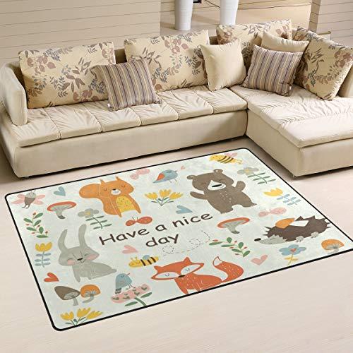 Mnsruu Have Nice Day Bär Eichhörnchen Häschen Fuchs Igel Vogel Schmetterling Bereich Teppich rutschfeste Bodenmatte Fußmatten Wohnzimmer Schlafzimmer 100 x 150 cm