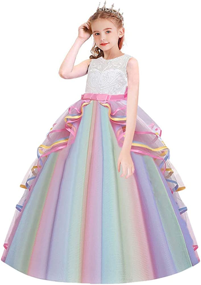 MYRISAM Girl's Unicorn Long Tulle Dress Wedding Birthday Princess Bowknot Carnival Party Performance Dance Pageant Ball Gowns