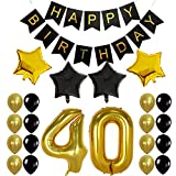 Crazy-M 40th Geburtstag Deko Set Nummer 40 Luftballon Geburtstag Party Deko für Männer Frau -2 STK...