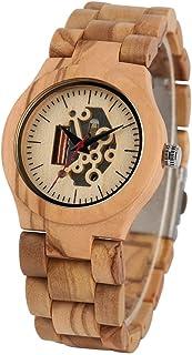CAIDAI&YL Reloj de Madera Natural para Mujer, Tallado Creativo, Pantalla Hueca, Reloj de Madera para Mujer, Movimiento de ...