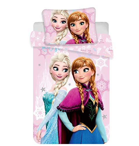 JERRY FABRICS - Set Di Biancheria Da Letto Disney Frozen, In Cotone, Multicolore, Dimensioni: 40 X 60 + 100 X 135 Cm