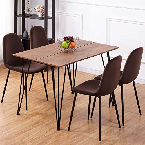 GOLDFAN Rectangle Wooden Dining Table and Chairs 110cm Set of 4 Velvet Padded Cushion Chairs Modern Dining Room Set, Brown