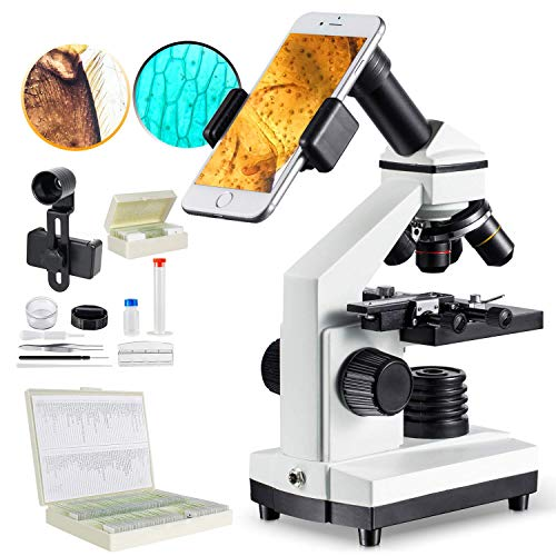1000x Microscope and 100Pcs Prepared Microscope Sliides, Basic Pack for Students Kids Adults Home Study