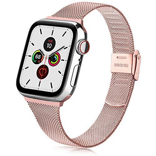 Oumida Compatible con Apple Watch Correa 38 mm 42 mm 40 mm 44 mm, acero inoxidable correa de repuesto con hebilla de metal para iWatch Series 6/5/4/3/2/1 (38 mm/40 mm, rosa).