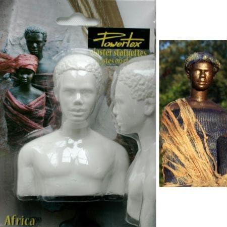 Powertex 18300064 Half African Bust Plaster