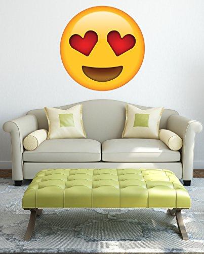 Adhesivo de Vinilo con Emoticono de Emoticono y Ojos de corazón, Brillante de 330 mm x 330 mm
