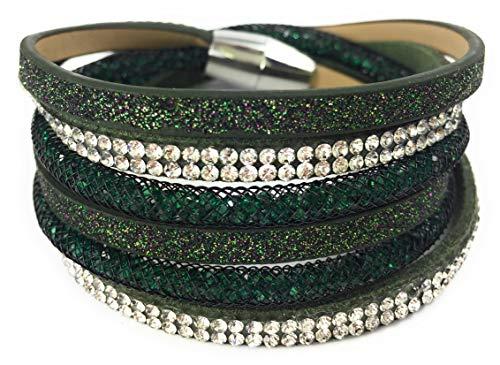 Feelinko Modisches Armband Armkettchen Wickelarmband Armreif Damen Women dunkelgrün
