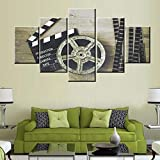 Black and White Pictures Metal Film Reel Paintings for Living Room Premium Quality Artwork 5 Panel Prints on Canvas Movies Wall Art Giclee Modern Home Decor Framed Stretched Ready to Hang(60''Wx32''H)