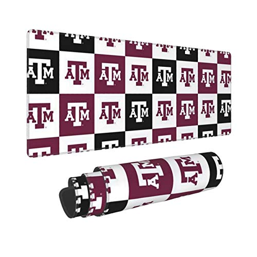 Texas A&M University Gaming Mouse Pad Large XXL Waterproof Desk Mousepad Non-Slip Desk Pad Rubber Base Stitched Edges Extended Mouse Matfor Home Office Gaming