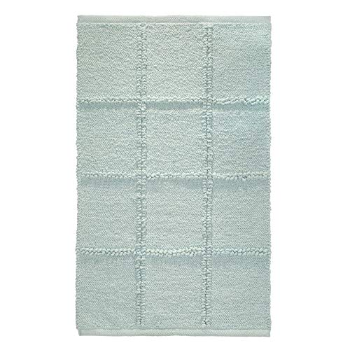 Price comparison product image iDesign Grid Bathroom Mat,  Rectangle-Shaped Small Rug Made of Cotton,  Spa Blue,  53.3 cm x 86.4 cm
