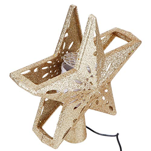 Mxzzand Strong and Durable Snowflake Toppers Light Rotatable Christmas Tree Toppers Light Projection Lamp Shine Stage Decoration(British standard 100-240V)