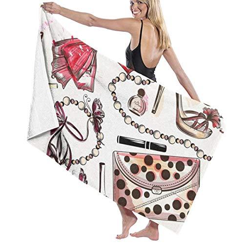 Mode Met Roze Handgetekende Vrouwelijke Schoenen Lippenstift Parfum Utopia Handdoeken Snelle Droge Microvezel Badhanddoek Zwembad Gym Handdoeken Hotel Kwaliteit Voor Unisex Gepersonaliseerd