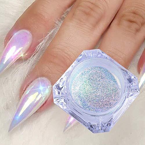 FILWO Holographic Nail Glitter Powder Rainbow Color Neon Effect Nail Art Flakes Decoration Chrome Nail Dust Tip Maniküre Sirene Nail Art Pailletten Puder Farbverlauf DIY Pigment Dekoration