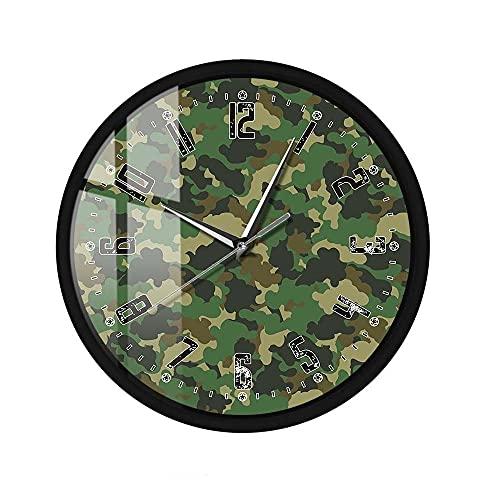 Reloj de Pared LED Activado por Sonido Soldados del ejército Camuflaje Verde Marco de Metal Que no Hace tictac Reloj de Pared Colgante Militar Decoración 12 Pulgadas