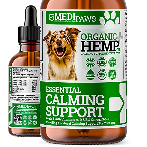 MediPaws® Dog Calming Hemp Oil For Dogs | Natural Organic Hemp Oil Drops For Dogs | Dog Calming Hemp Oil Supports & Maintains Healthy Joints, | High Strength 50,000mg | 50ml