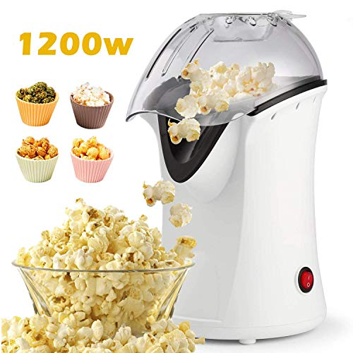 Review 1200W Popcorn Maker, Popcorn Machine, Hot Air Popcorn Popper Healthy Machine No Oil Needed (W...