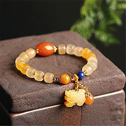 YANGYUE Piedra Natural Colorido Jade Feng Shui Buda Pulsera Piuxiu Calabaza Encanto Pulsera Riqueza Brazalete Hecho a Mano joyería de Amuleto de la Suerte