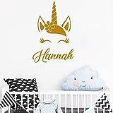 yaofale Personnalisé personnalisé nom Vinyle Sticker Mural Belle corolle Licorne Cils Autocollants bébé Fille Chambre Maternelle décoration