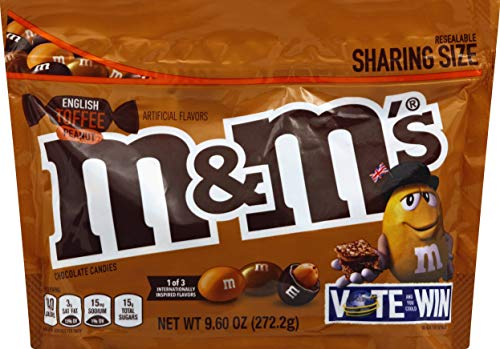 M&M's Chocolate Candy Flavor Vote English Toffee Peanut Sharing Size,...