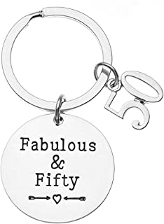 Infinity Collection 50th Birthday Keychain, 50th Birthday Gifts for Men & Women, Fabulous and Fifty Keychain. 50th Bday Gifts for Him or Her