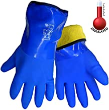 Frogwear 8490 Insulated & Waterproof Blue Tripple Dipped Work Gloves, Ultra Flexible, Chemical & Oil Resistant, Sizes M-XL (1 Pair) (Medium)