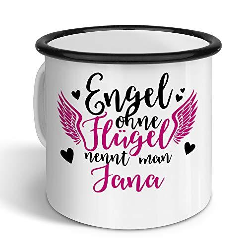 printplanet - Emaille-Tasse mit Namen Jana - Metallbecher mit Design Engel - Nostalgie-Becher, Camping-Tasse, Blechtasse, Farbe Schwarz, 400ml